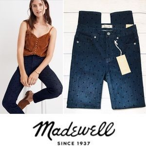 "Madewell Flocked Dots 9"" Mid-Rise Polkadot Jeans"